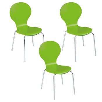 Dřevěná židle PEAS, zelená 4ks