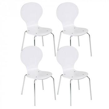 Dřevěná židle WAIT, 4 ks, bílá