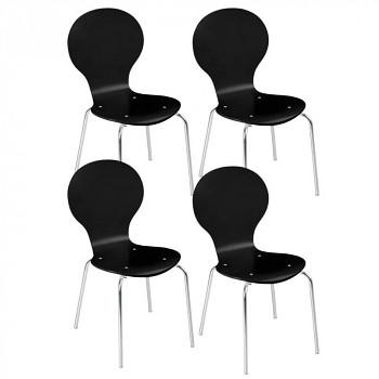 Dřevěná židle BLACK, 4 ks, černá