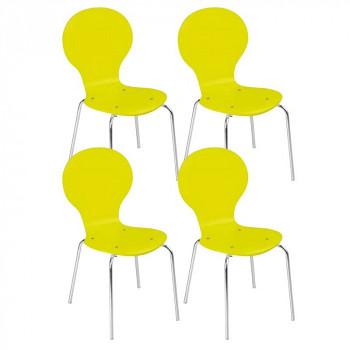 Dřevěná židle YELLOW, 4 ks, žlutá