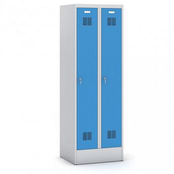 Šatní skříň, sokl 1, svařovaná, 2x modrá dv./korp. šedá, zámek cylindrický