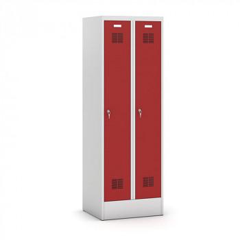 Šatní skříň, sokl 1, svařovaná, 2x červená dv./korp. šedá, zámek otočný