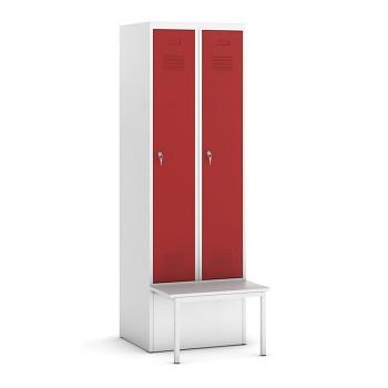 Šatní skříňka, lavička 1, svařovaná, 2x červená dv./korp. šedá, zámek otočný