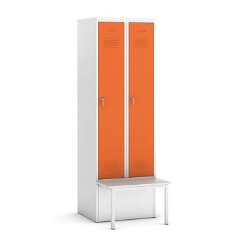 Šatní skříňka, lavička 1, svařovaná, 2x oranžová dv./korp. šedá, zámek otočný