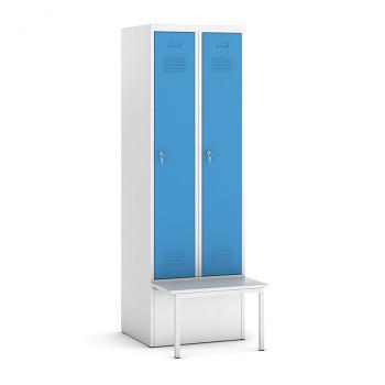 Šatní skříňka, lavička 1, svařovaná, 2x modrá dv./korp. šedá, zámek otočný