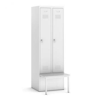 Šatní skříňka, lavička 1, svařovaná, 2x šedá dv./korp. šedá, zámek otočný