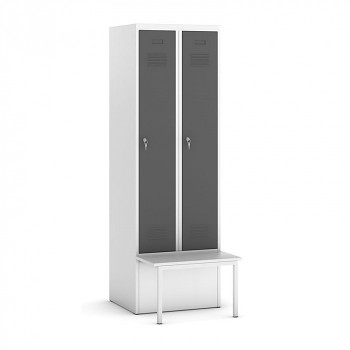 Šatní skříňka, lavička 1, svařovaná, 2x tm. šedá dv./korp. šedá, zámek otočný
