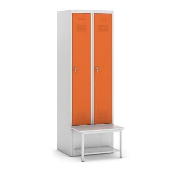 Šatní skříňka, lavička s policí, svařovaná, 2x oranžová dv./korp. šedá, zámek otočný