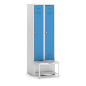 Šatní skříňka, lavička s policí, svařovaná, 2x modrá dv./korp. šedá, zámek otočný