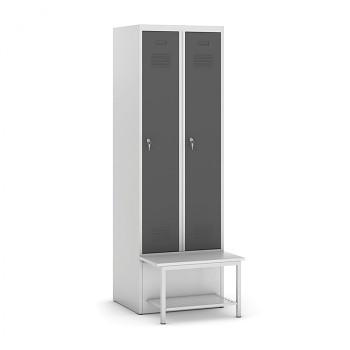 Šatní skříňka, lavička s policí, svařovaná, 2x tm. šedá dv./korp. šedá, zámek otočný