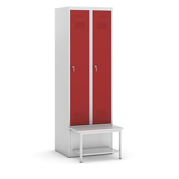 Šatní skříňka, lavička s policí, svařovaná, 2x červená dv./korp. šedá, zámek cylindrický