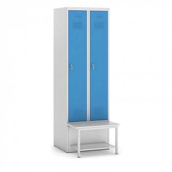 Šatní skříňka, lavička s policí, svařovaná, 2x modrá dv./korp. šedá, zámek cylindrický