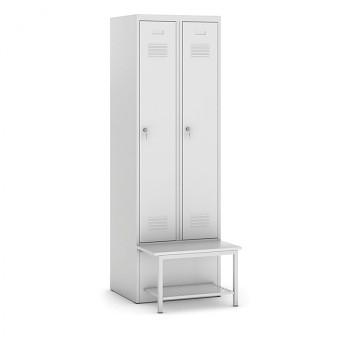 Šatní skříňka, lavička s policí, svařovaná, 2x šedá dv./korp. šedá, zámek cylindrický