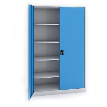 Kovová skříň 1950x1200x800 mm, šedá/modrá, 80 kg na polici, JUMBO