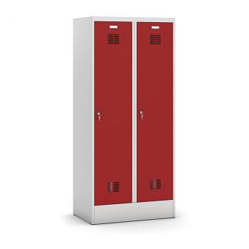Šatní skříň s mezistěnou, sokl, demontovaná, 2x červená dv./korp. šedá, zámek cylindrický