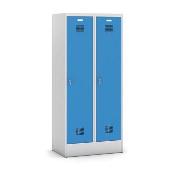 Šatní skříň s mezistěnou, sokl, demontovaná, 2x modrá dv./korp. šedá, zámek otočný