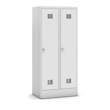 Šatní skříň s mezistěnou, sokl, demontovaná, 2x šedá dv./korp. šedá, zámek otočný