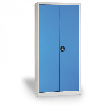 Kovová skříň 1950x 950x500 mm, šedá/modrá, 80 kg na polici, JUMBO