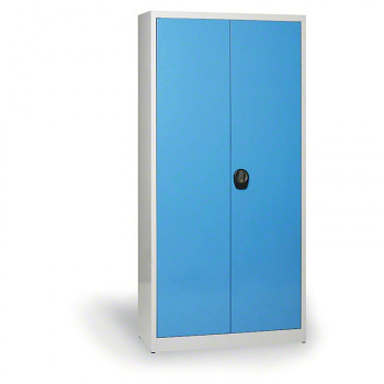 Kovová skříň 1950x1200x500 mm, šedá/modrá, 80 kg na polici, demont, JUMBO