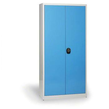 Kovová skříň 1950x1200x800 mm, šedá/modrá, 80 kg na polici, demont, JUMBO