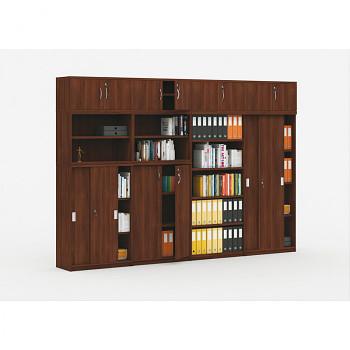Sestava kancelářského nábytku MIRELLI A+, typ D, ořech