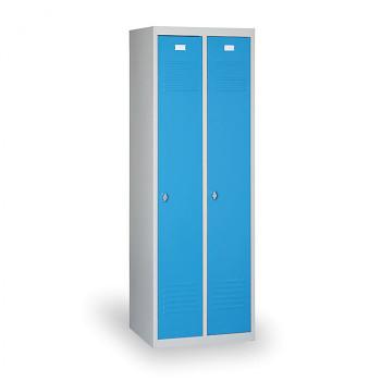 Šatní skříň EKONOMIK, sokl, smontovaná, 2x modrá dv./korp. šedá, zámek otočný