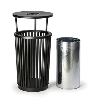 Venkovní odpadkový koš s popelníkem, 24 l, kovový
