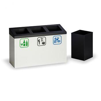 Koš na tříděný odpad  3x 9 l, kovový