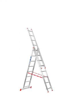 Hliníkový žebřík výsuvný trojdílný 3x 8 příček, 4,52 m