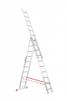 Hliníkový žebřík výsuvný trojdílný 3x10 příček, 6,21 m