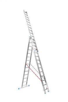 Hliníkový žebřík výsuvný trojdílný 3x14 příček, 9,01 m