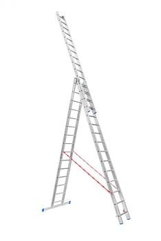 Hliníkový žebřík výsuvný trojdílný 3x15 příček, 9,79 m