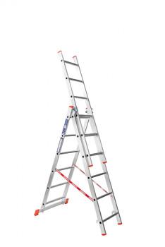 Hliníkový žebřík výsuvný trojdílný 3x 6 příček, 3,65 m