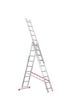 Hliníkový žebřík výsuvný trojdílný 3x 9 příček, 5,36 m