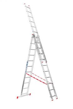 Hliníkový žebřík výsuvný trojdílný 3x11 příček, 6,75 m