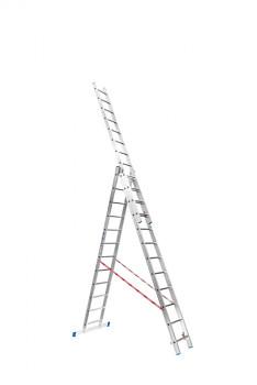 Hliníkový žebřík výsuvný trojdílný 3x12 příček, 7,91 m
