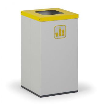 Koš na tříděný odpad, 2x 50 l, šedá/žlutá, AL