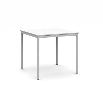 Jídelní stůl  800x 800x 735, bílá, podnož světle šedá, JHN