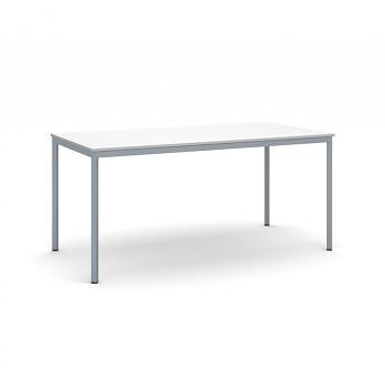 Jídelní stůl 1600x 800x 735, bílá, podnož tmavě šedá, JHN