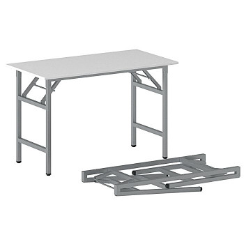 Konferenční stůl 1100x 500x 750, bílá, podnož šedá, FAST READY