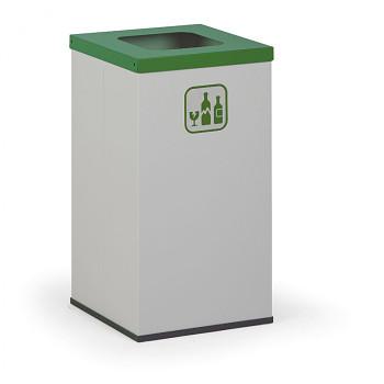 Koš na tříděný odpad 42 l šedý/zelené víko
