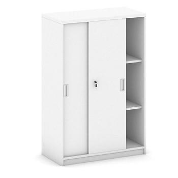 Kancelářská skříň, 1200x 800x400, bílá, posuv, MIRELLI A+