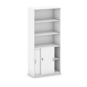 Kancelářská skříň, 1800x 800x400, bílá, kombi/posuv, MIRELLI A+