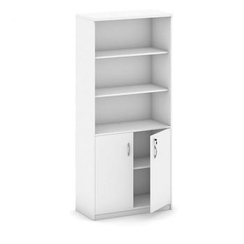 Kancelářská skříň, 1800x 800x400, bílá, kombi/křídlové, MIRELLI A+
