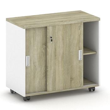 Kancelářský kontejner  800x 750x420, bílá/dub sonoma, posuv, MIRELLI A+