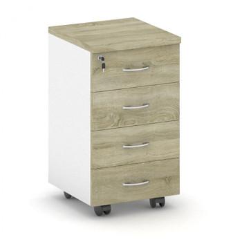 Kancelářský kontejner  400x 650x480, bílá/dub sonoma, 4x zásuvky, MIRELLI A+