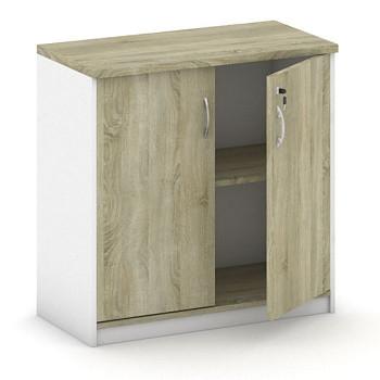 Kancelářská skříň,  800x 800x400, bílá/dub sonoma, křídlové, MIRELLI A+