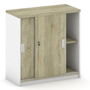 Kancelářská skříň,  800x 800x400, bílá/dub sonoma, posuv, MIRELLI A+