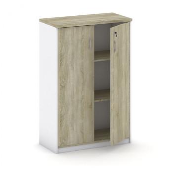 Kancelářská skříň, 1200x 800x400, bílá/dub sonoma, křídlové, MIRELLI A+
