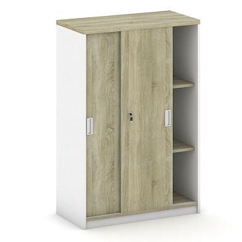 Kancelářská skříň, 1200x 800x400, bílá/dub sonoma, posuv, MIRELLI A+